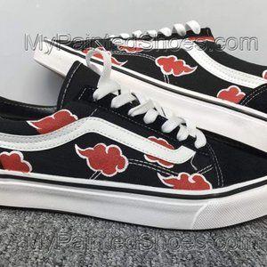Akatsuki Cloud Vans Shoes Custom Hand Painted Shoes